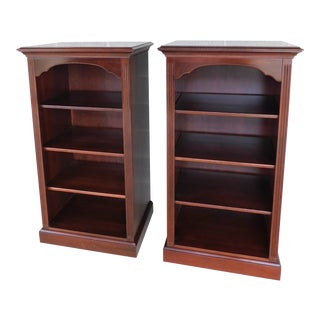 Ethan Allen Georgian Court Cherry Chippendale Style Open Bookcases - a Pair For Sale
