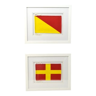 "Framed Signal Flags Letters ""R"" & ""O"" - a Pair For Sale"
