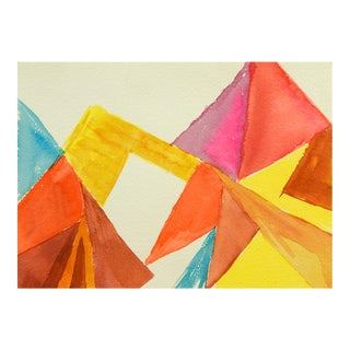 Abstract Mountain Triangles Watercolor Painting For Sale