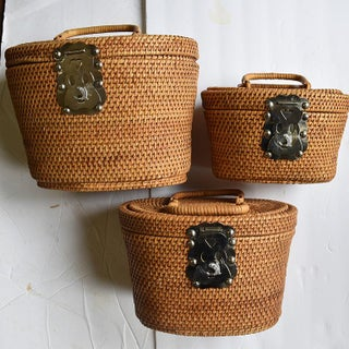 1960 Vintage Wicker Nesting Fishing Baskets With Handles - Set of 3 Preview