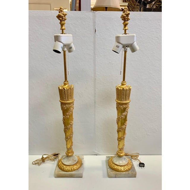 French 1950s Vintage French Empire Gold Dore Marble Table Lamps- a Pair For Sale - Image 3 of 11