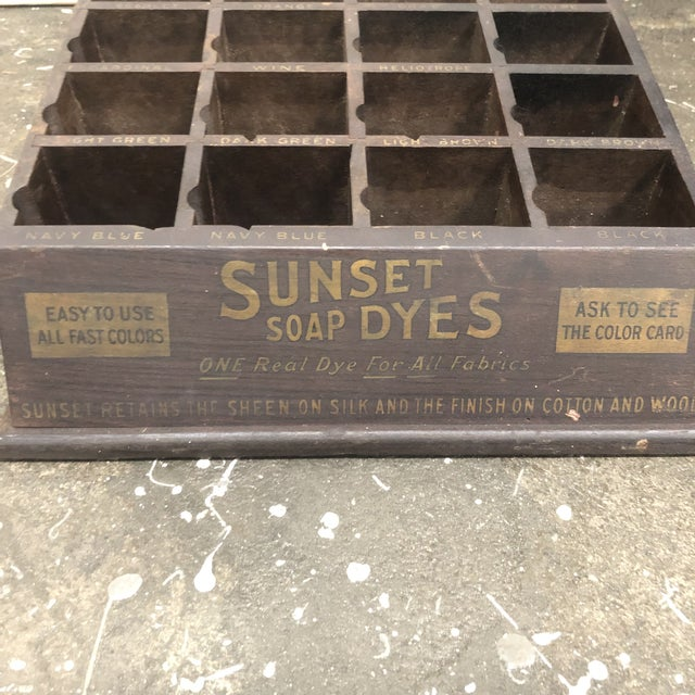 Early 20th Century Antique Sunset Soap Dye Wood Display