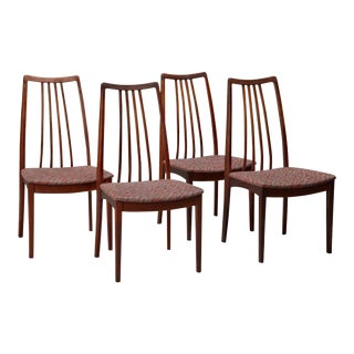 Danish Rosewood High Back Dining Chairs - Set of 4 For Sale
