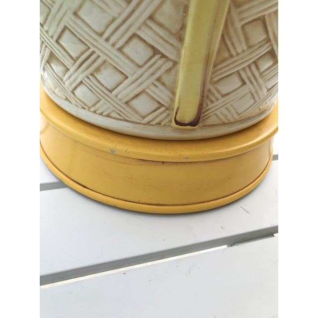 Yellow Vintage Faux Bamboo Basket Weave Ginger Jar Lamps-Pair For Sale - Image 8 of 11