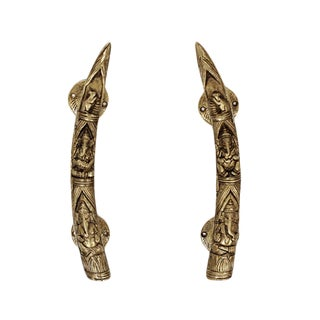 Art Deco Brass Elephant Tusk Door Handles - a Pair For Sale