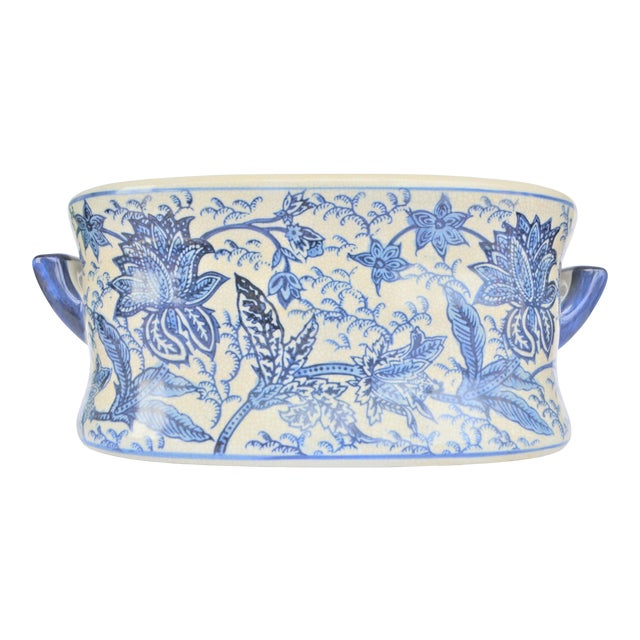 Vintage Large Floral Chinoiserie Blue & White Foot Bath For Sale
