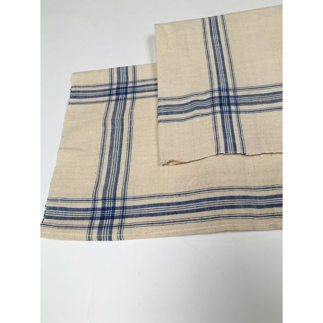 Homespun Flax Linen French Blue Plaid Towels - A Pair - Image 7 of 7