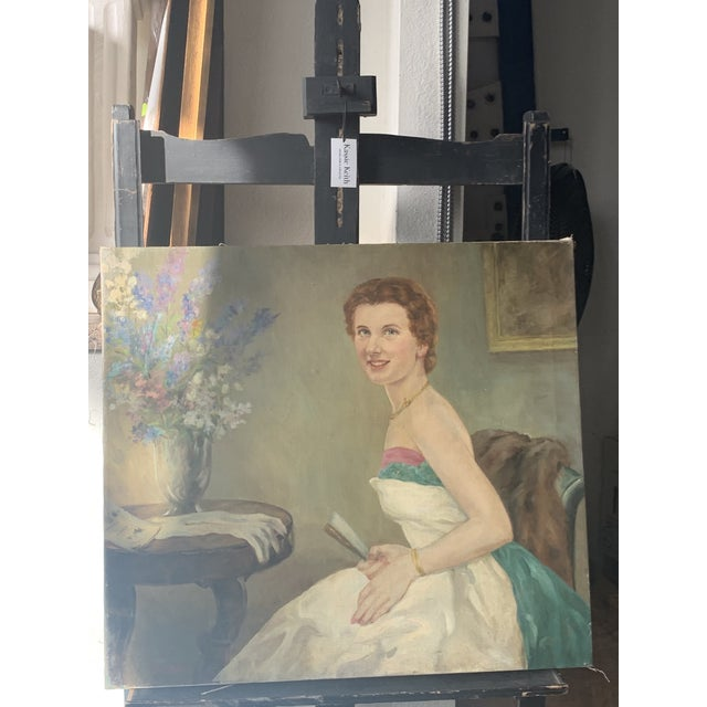 1940s Portrait of a Lady Oil Painting For Sale In Seattle - Image 6 of 6