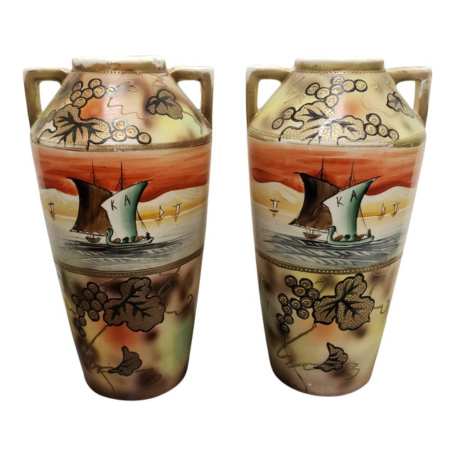 Circa 1910 Japanese Royal Nippon Porcelain Sailing Ship/Grapevine Motif Vases - a Pair For Sale