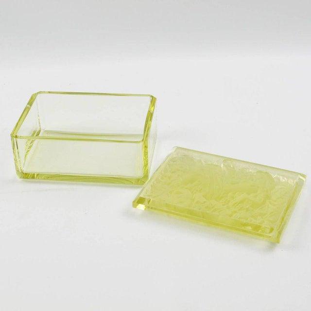 Bohemian Art Deco Vaseline Czech Glass Ashtray & Box - Image 4 of 11