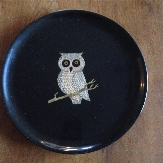 Mid-Century Modern Vintage Couroc of Monterey Owl Tray For Sale - Image 3 of 11
