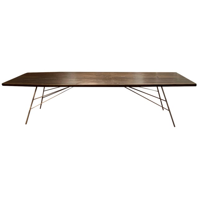 Industrial Viento Ray Dark Steel and Reclaimed Wood Dining Table For Sale