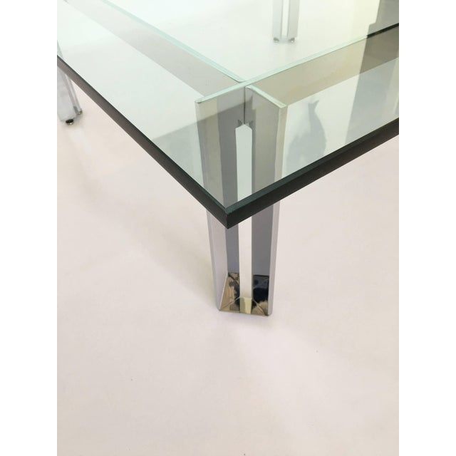 1960s Modernist Square Chrome and Glass Coffee Table For Sale - Image 5 of 9