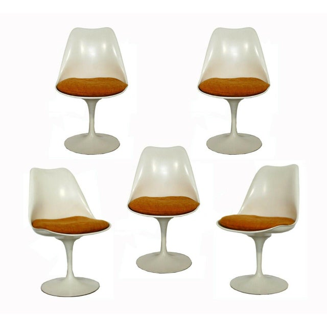 Mid Century Modern Eero Saarinen for Knoll Set 5 Tulip Side Dining Chairs 1960s For Sale - Image 10 of 10