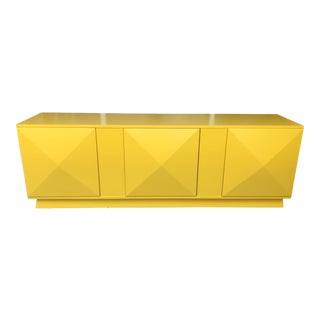 Diamond Cut 3 Doors Credenza For Sale