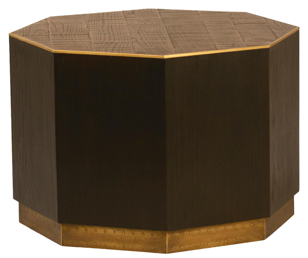 Charmant Wood U0026 Brass Octagon Side Table