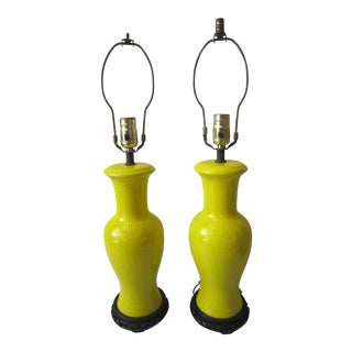 Chinese Canary Yellow Crackle Glaze Lamps, a Pair