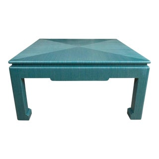 Custom Turquoise Grasscloth-Wrapped Cocktail Table For Sale