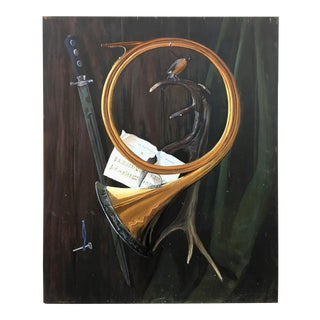Vintage Trumpet & Faux Wood Scene Tromp l'Oil Painting on Wood Panel For Sale