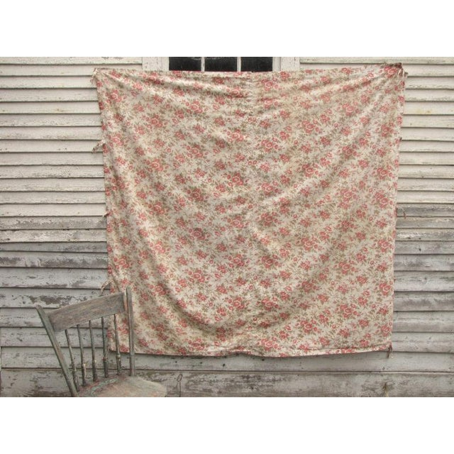 Antique French Fabric Floral Pink & Madder Tones Soft Cotton/Linen Fabric - 59ʺW × 64ʺD For Sale - Image 4 of 5