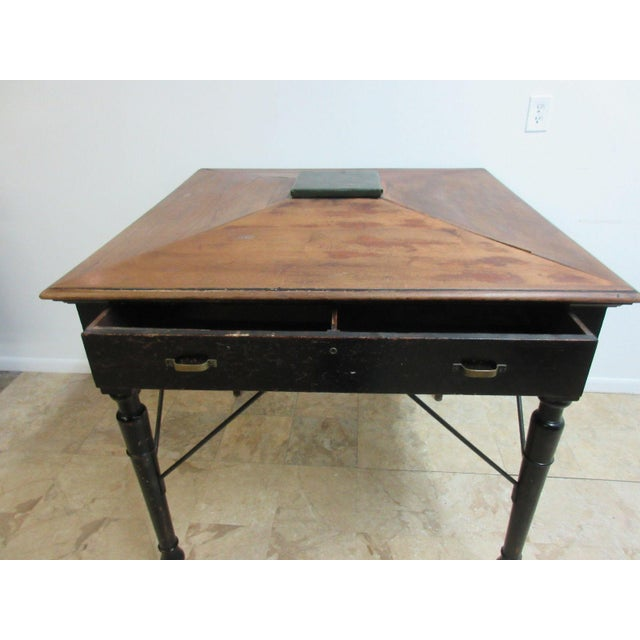 Antique Victorian Primitive Slant Top Plantation Writing Desk For Sale - Image 4 of 11