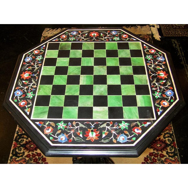 Black Marble Pietra Dura Chess Board Marble Table For Sale - Image 7 of 9