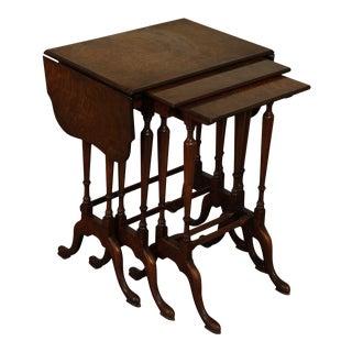 George III Style 1930's Vintage Burl Walnut Drop Leaf Nesting Tables For Sale