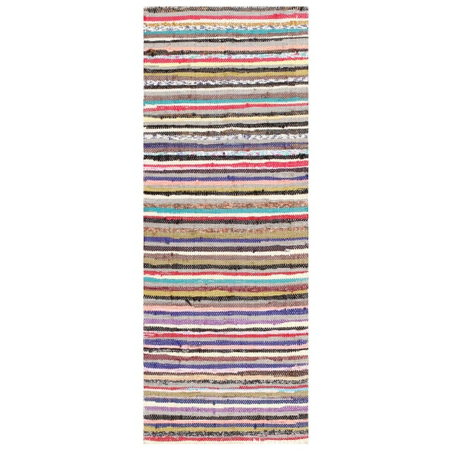 Vintage Swedish Scandinavian Rag Rug Runner, Country Of Origin: Sweden, Circa Date: Mid 20th Century — Boldly playful and...