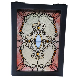 19th Century Antique Reclaimed Stained Glass Window For Sale