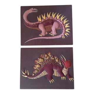 1970s Vintage Dino Silk Screen Textile Art - a Pair For Sale