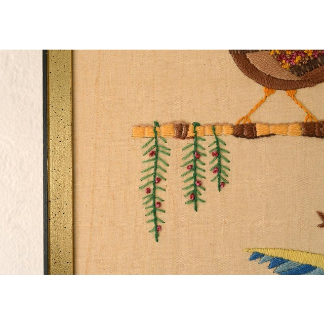 Orange Mid Century Three Birds Crewel Embroidery Wall Hanging For Sale - Image 8 of 13