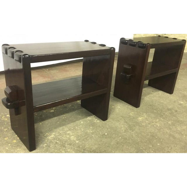 Brown Alexandre Noll Rare Pair of Side Tables in Solid Mahogany For Sale - Image 8 of 8