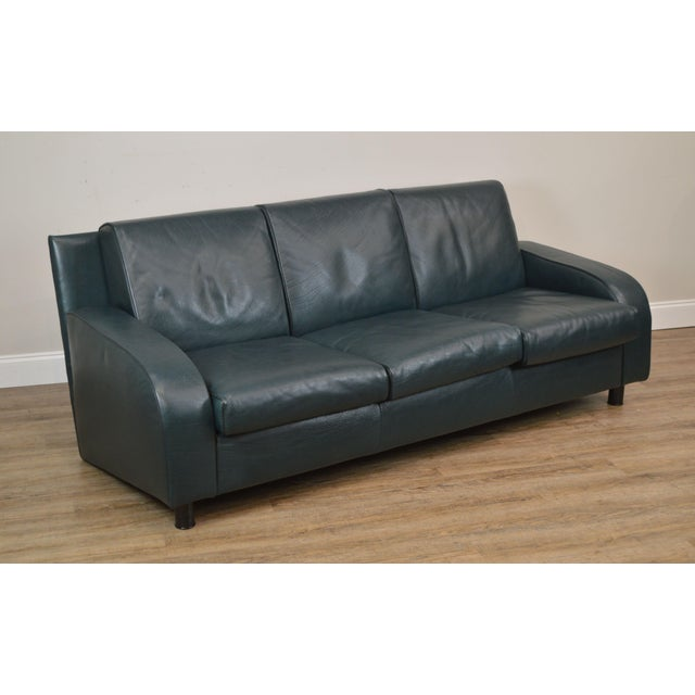 I4 Mariani for Pace Dark Hunter Green Italian Leather Sofa (B)
