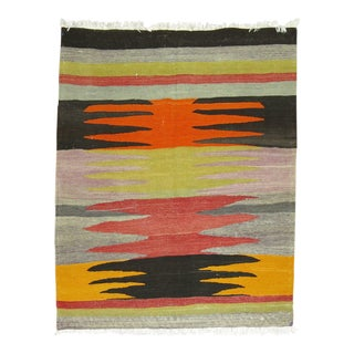 Vintage Turkish Kilim Flat-Weave, 3'4'' X 3'9'' For Sale