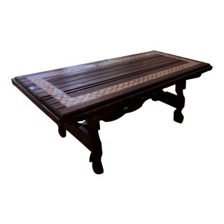 Rustic Antique Mosaic Tile Church Door Primative Wood Dining Room Table For Sale