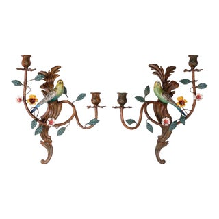 Italian Tole Bird Sconces - A Pair For Sale