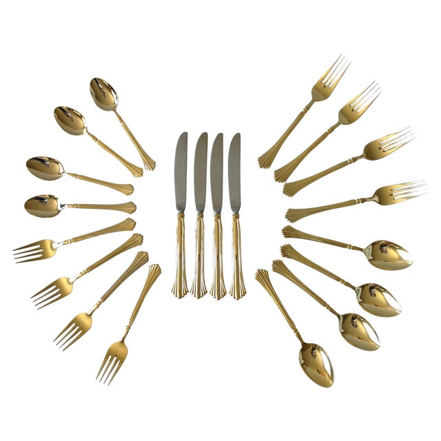 Gold Tone Flatware by Cambridge - Set of 20 For Sale