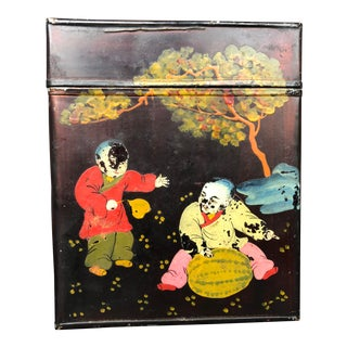 Antique Chinese Hand Painted Toleware Tea Tin For Sale