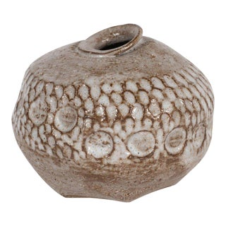 Mid-Century Modern Ceramic Vase in Taupe with Recessed Organic Forms Throughout For Sale