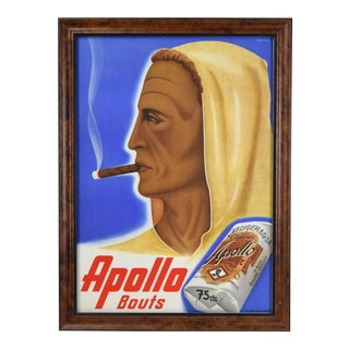 """Johannes Handschin """"Apollo Bouts"""" Cigar Advertising Poster Basel Graphic Art For Sale"""