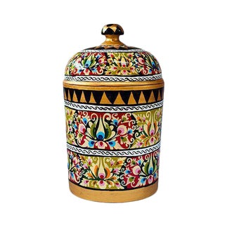 Hand Painted Floral Canister For Sale