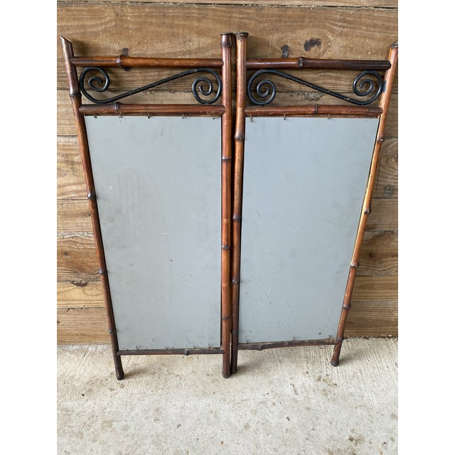 Early 20th Century Antique French Bi-Fold Bamboo Mirror For Sale - Image 5 of 13