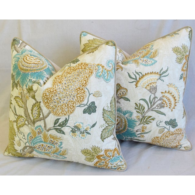 """French Jacobean Floral Feather/Down Pillows 24"""" Square - Pair For Sale - Image 9 of 13"""