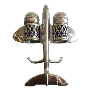 Authentic Art Deco Salt & Pepper Chrome Airplane w/ Cobalt Blue Glass For Sale