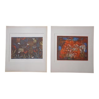 Vintage Mid 20th Century Abstract Lithograph - Paul Klee - a Pair For Sale