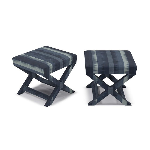 The Inside X Bench in Indigo Ikat Stripe For Sale - Image 4 of 5