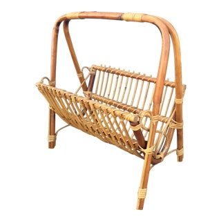 1970s Boho Chic Rattan Magazine Rack For Sale