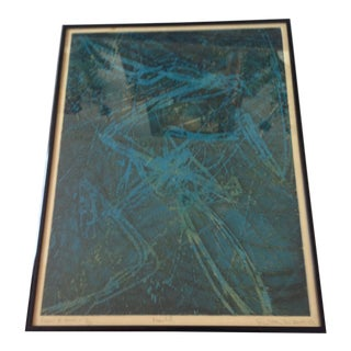 1960s Abstract Turquoise Lithograph by Switan, Framed For Sale
