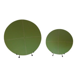 Vera Wang Green Pebble Leather Nesting Bowls - A Pair For Sale