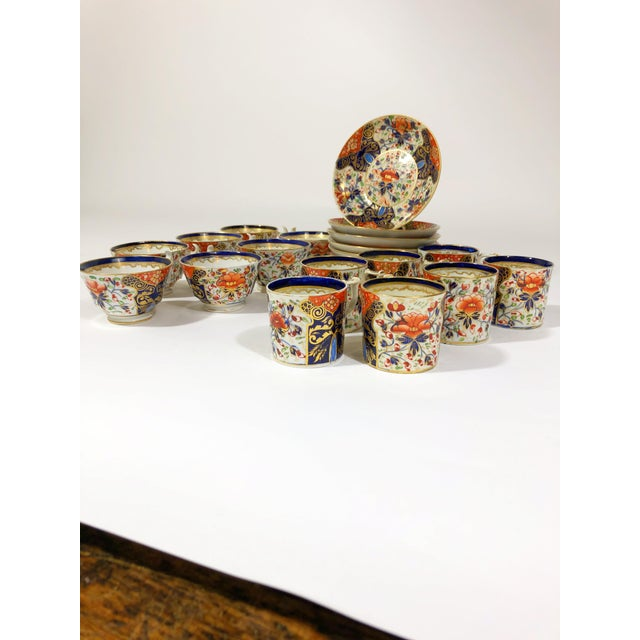 """This delicate set is in excellent condition for its age. The coffee cups are 3-1/2"""" diameter, the saucers 5-3/4"""" diameter,..."""